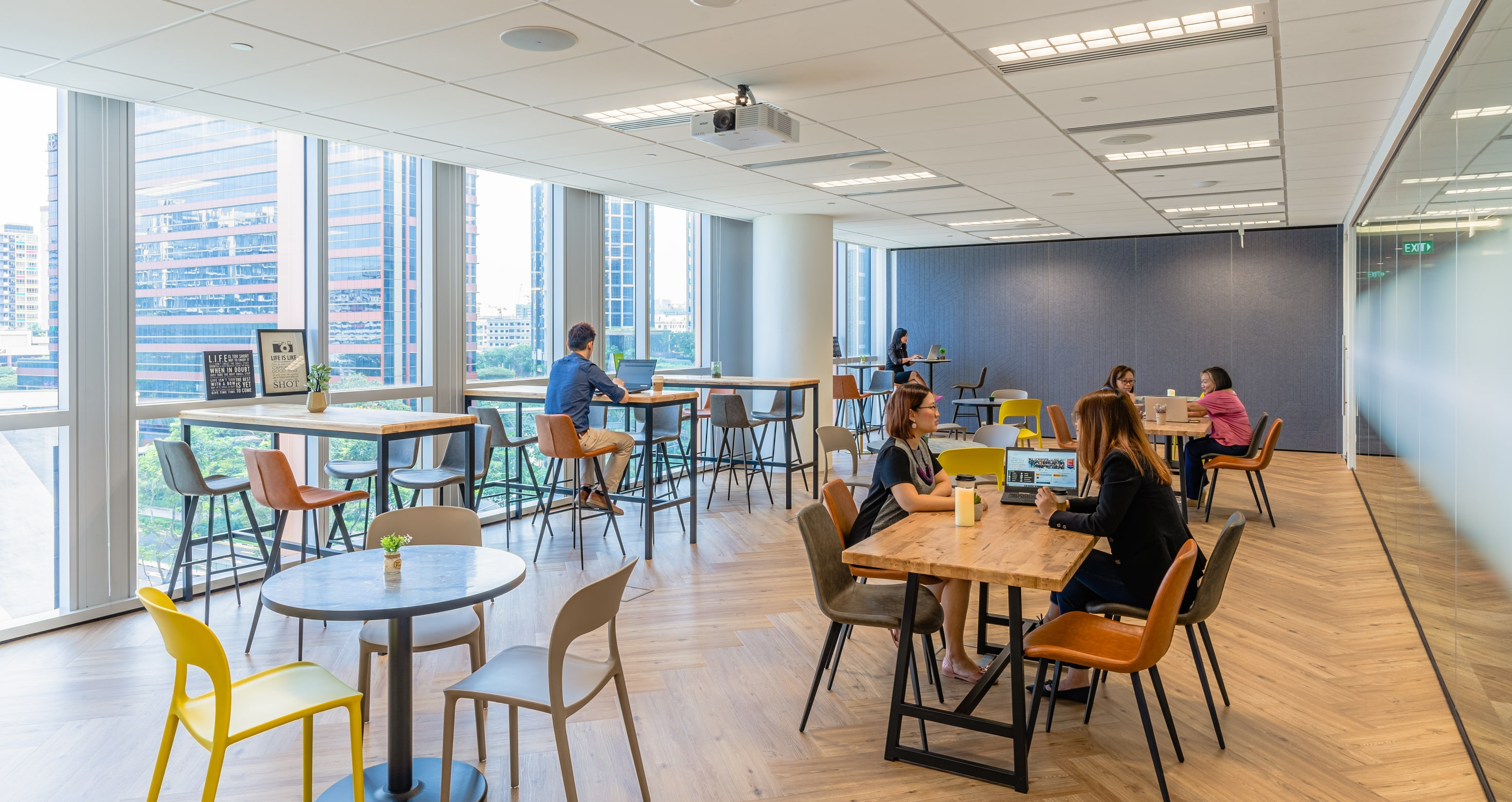 The office cafeteria at RHTLaw Asia doubles up as a workspace too