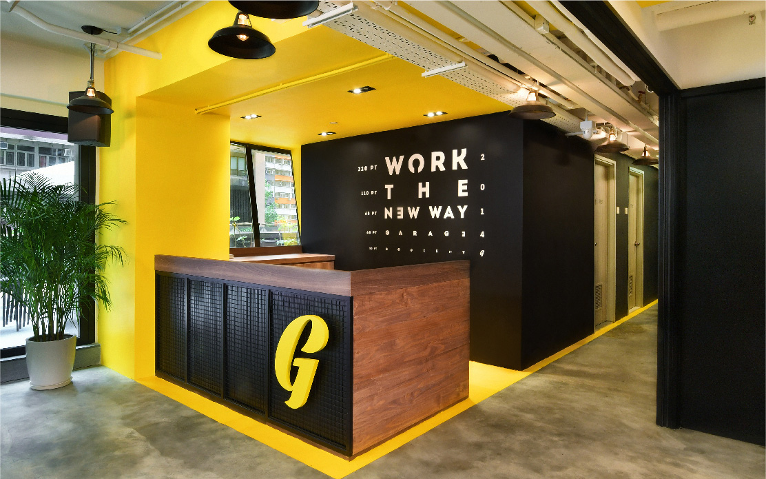 Co-working office design by Space Matrix for Garage Society