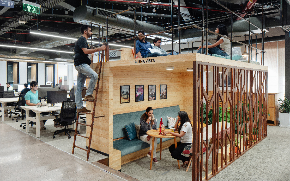 Airbnb's office design by Space Matrix for workplace productivity
