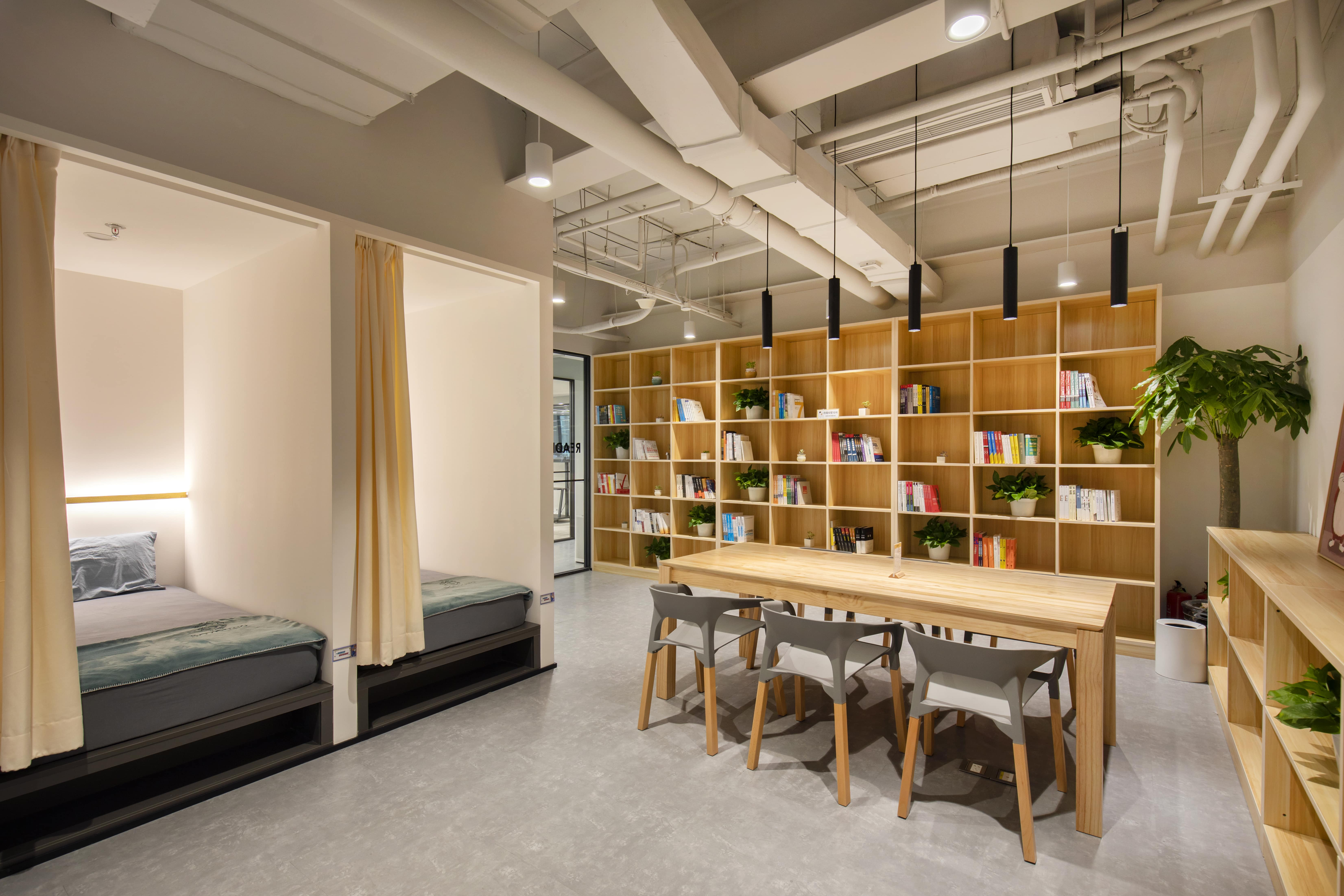 Space Matrix designed and built the Bole Games Beijing workplace to have an entire floor of employee-centric facilities such as a library and nap rooms