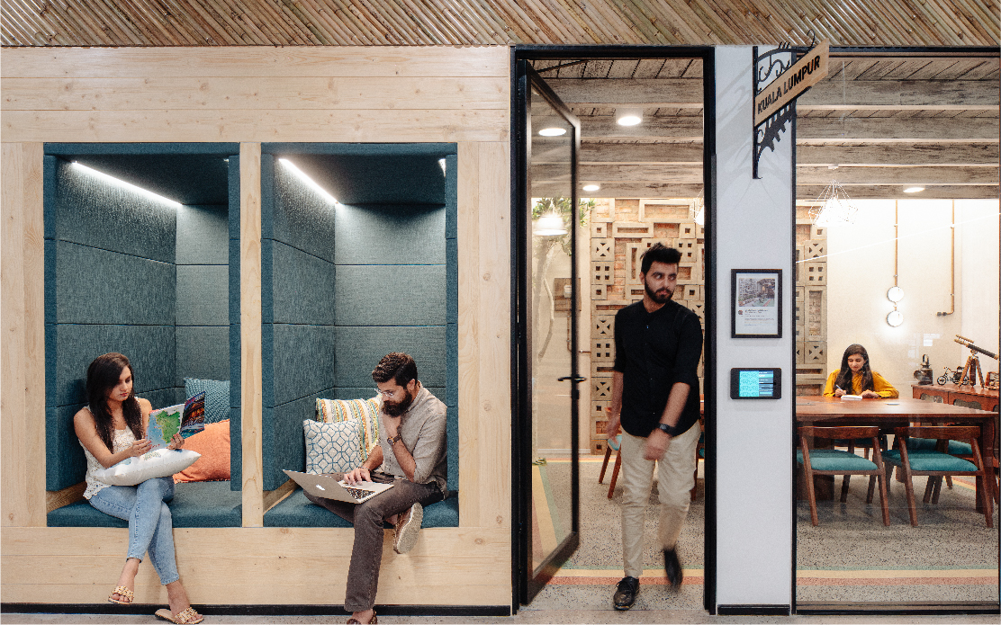 Workplace design for Airbnb India by Space Matrix