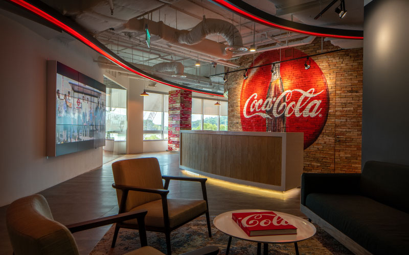 Office space designs for Coca Cola office in Singapore by Space Matrix