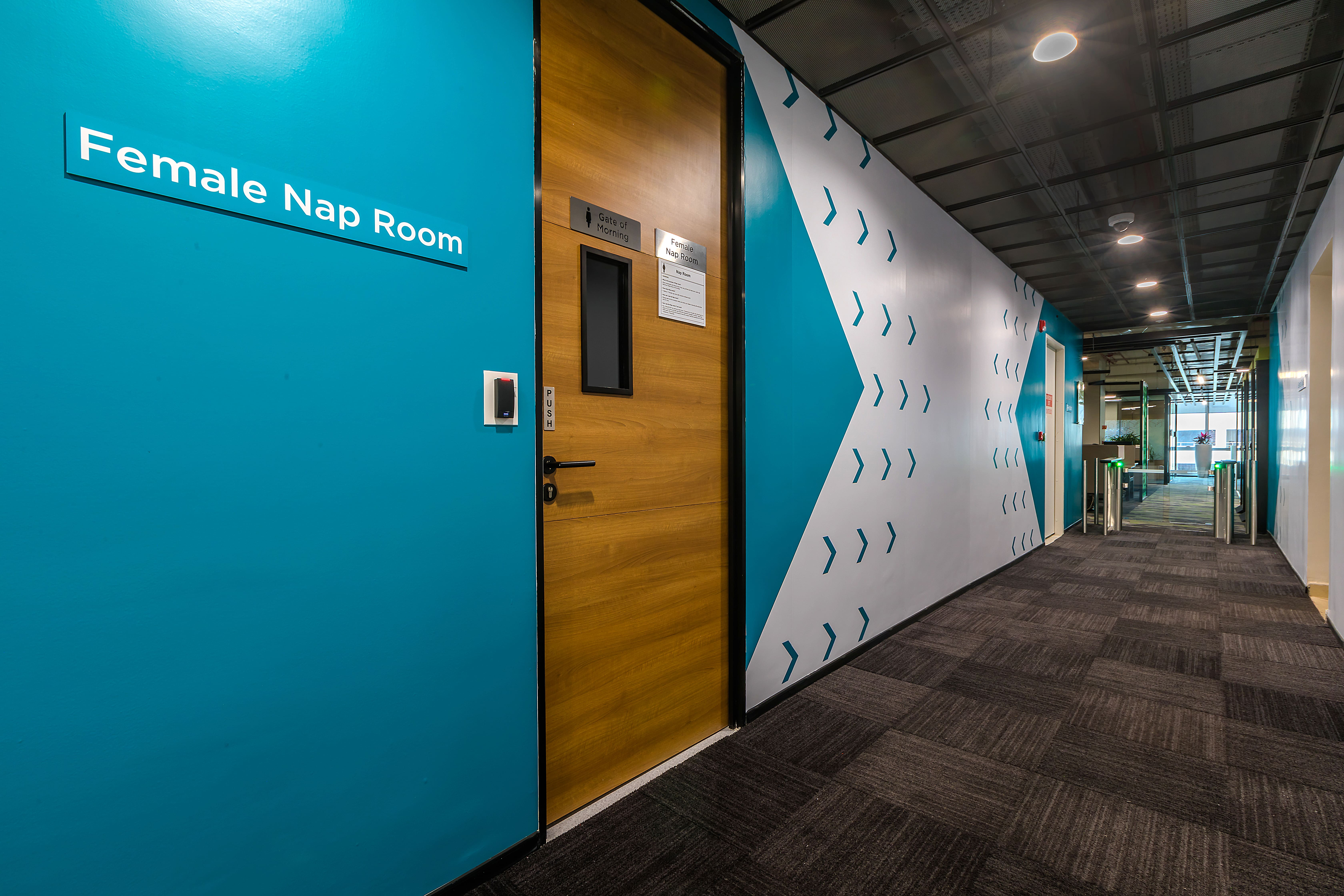 Nap rooms and mothers' rooms have been designed by Space Matrix to cater to a diverse workplace