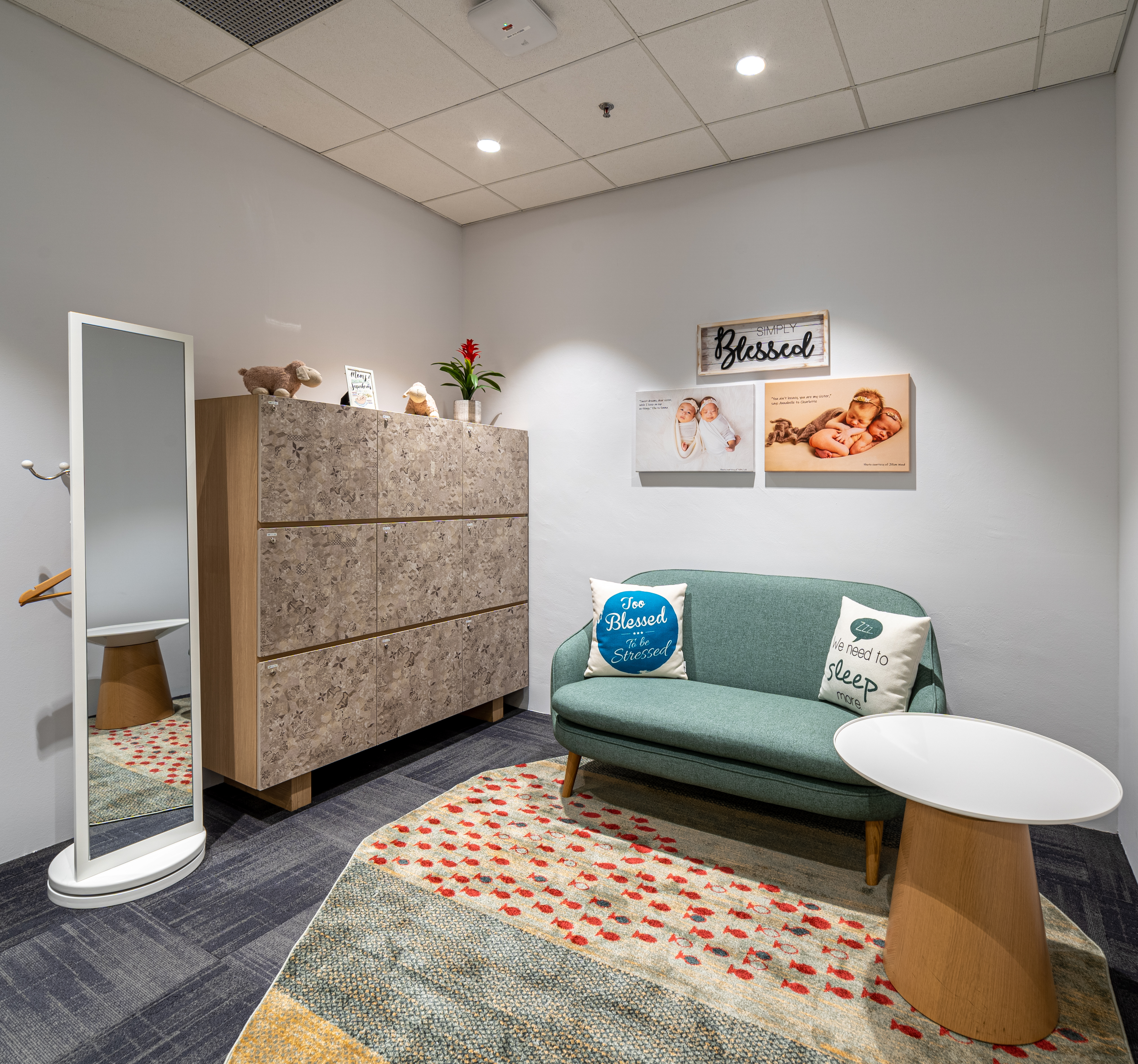 Space Matrix's recent workspace for a multinational company features comfortable, cosy mother's rooms to make the return to work easier